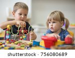 brother and sister is playing... | Shutterstock . vector #756080689