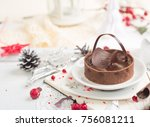 beautiful chocolate tart over...   Shutterstock . vector #756081211