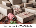 wrapped christmas gifts for... | Shutterstock . vector #756081634