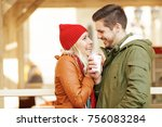 young couple in love enjoying... | Shutterstock . vector #756083284