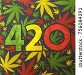 420 symbol with color cannabis...
