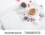 cupcake with white brown cream...   Shutterstock . vector #756085525