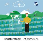 man controls the process of... | Shutterstock .eps vector #756090871