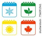 seasons calendar color icons... | Shutterstock .eps vector #756091561