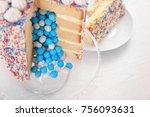 tasty cake for baby shower... | Shutterstock . vector #756093631
