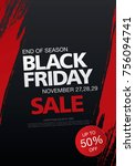 black friday sale banner layout ... | Shutterstock .eps vector #756094741