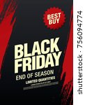 black friday sale banner layout ... | Shutterstock .eps vector #756094774