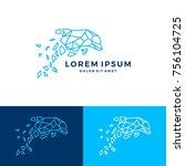 geometric dolphin logo vector...   Shutterstock .eps vector #756104725