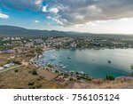 view on ildiri bay from ancient ... | Shutterstock . vector #756105124