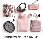Fashion womens winter clothes set. Soft woolen female outfit clothing collage.