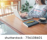 young asian woman sitting in...   Shutterstock . vector #756108601