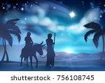 a nativity christmas scene of... | Shutterstock .eps vector #756108745