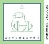kettlebell and barbell line icon | Shutterstock .eps vector #756109159