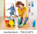 mother with child daughter... | Shutterstock . vector #756111871