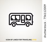 bus icon of lines for travelers.... | Shutterstock .eps vector #756112009