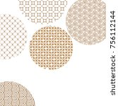 golden circles with geometric... | Shutterstock .eps vector #756112144