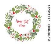 christmas garland design | Shutterstock .eps vector #756115291