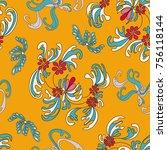 beautiful flowers on an orange...   Shutterstock .eps vector #756118144