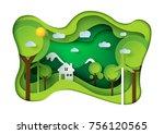 green eco friendly living house ... | Shutterstock .eps vector #756120565