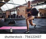 fit young blonde woman in... | Shutterstock . vector #756122437