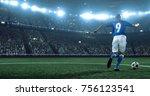 soccer player kicks the ball on ... | Shutterstock . vector #756123541