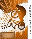 bmx cyclist poster template... | Shutterstock .eps vector #75612457