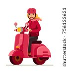 happy young girl riding pink...   Shutterstock .eps vector #756133621