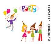 vector flat birthday party...   Shutterstock .eps vector #756142561
