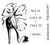 black and white fashion high... | Shutterstock .eps vector #756143197