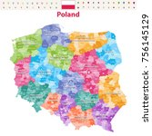 vector map of poland provinces... | Shutterstock .eps vector #756145129
