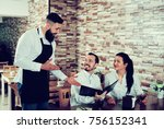 young male waiter taking order... | Shutterstock . vector #756152341
