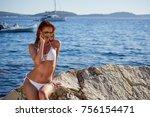 redhaired woman in bikini... | Shutterstock . vector #756154471