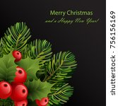 christmas card template with... | Shutterstock .eps vector #756156169