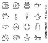 thin line icon set   coffee... | Shutterstock .eps vector #756160411
