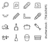 thin line icon set   magnifier  ... | Shutterstock .eps vector #756165691