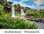 two powerful fairy waterfalls... | Shutterstock . vector #756166231