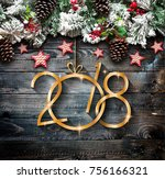 2018 happy new year and  merry... | Shutterstock . vector #756166321