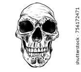 human skull vector art. hand... | Shutterstock .eps vector #756172471
