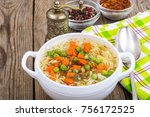 vegetable soup with instant... | Shutterstock . vector #756172525