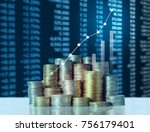 investment concept  coins graph ... | Shutterstock . vector #756179401
