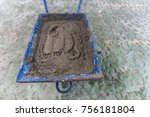 mixed cement prepared on a...   Shutterstock . vector #756181804