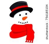 cute snowman. vector... | Shutterstock .eps vector #756185104
