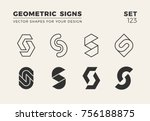 set of eight minimalistic... | Shutterstock .eps vector #756188875
