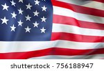waiving flag of united states... | Shutterstock . vector #756188947