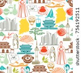 korea seamless pattern. korean... | Shutterstock .eps vector #756192511