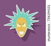 paper sticker on theme evil face   Shutterstock .eps vector #756194101