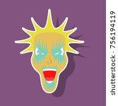 paper sticker on theme evil face   Shutterstock .eps vector #756194119