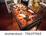 selective focus on roasted... | Shutterstock . vector #756197065
