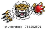 a wildcat angry animal sports...   Shutterstock .eps vector #756202501