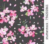 blooming spring flowers pattern ... | Shutterstock .eps vector #756202861